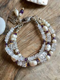 Pearl, moonstone,amethyst and crystal quartz bracelet