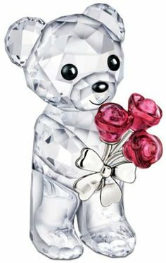 Crystal bear with roses - Best Valentine's Day Roses Gift Ideas 2013