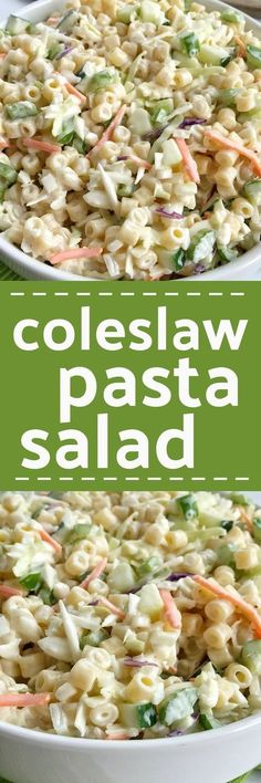 Coleslaw pasta salad is a fun twist to traditional pasta salad. Loaded with texture, taste, and fabulous crunch. This is the perfect side dish for a summer bbq, picnic, or potluck! It can be made ahead of time too.
