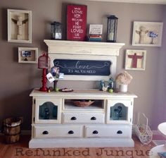 Refunked dresser ~ chalkboard from a piano ~ shadow boxes from old frames and pallet wood.