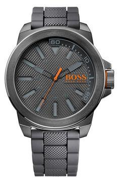 BOSS Orange Textured Silicone Strap Watch, 50mm