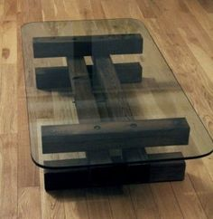build glass tabletop wood coffee table designed by Diy Pallet Furniture, Diy Furniture Projects, Metal Furniture, Home Decor Furniture, Furniture Design, Tea Table Design, Wood Table Design, Wall Decor Design, Salvaged Wood Projects