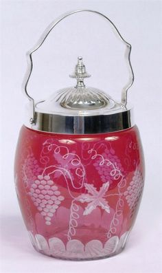 Cranberry Glass Biscuit Jar Etched Grapes Design Metal Lid