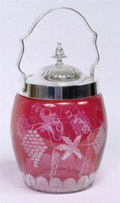 Cranberry Glass Biscuit Jar Etched Grapes Design Metal Lid