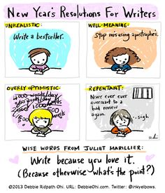 New Year's Resolutions for Writers | Debbie Ohi via Writer Unboxed | #writing #humor