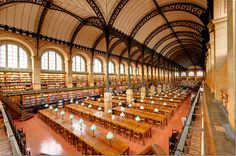 The St. Genevieve Library of Paris, built in 1842-50, is the first large building to have used structural iron as an décor element. The ceiling is so gorgeous, it looks like black lace.