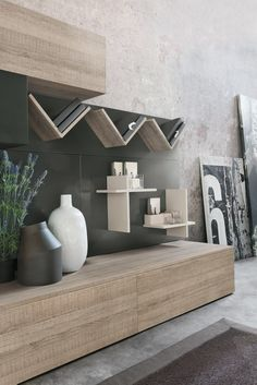 Contemporary style sectional wooden storage wall Magnetika living M03 Magnetika living Collection by Ronda Design
