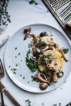 Local Milk | pan fried polenta + wild mushroom ragu