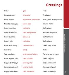 Learn common Greek language phrases! Tip: Use the transliteration (in red) to perfect your pronunciation.