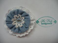 Shabby Blume Blüte blau weiß Vintage Applikation Spitze Landhaus Handarbeit