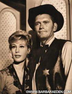 Barbara and Dick York together in an episode of RAWHIDE, Nov. 1963. Looks like in TV Land, Jeannie knew Darrin before Samantha! -Team Eden