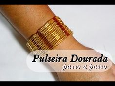 GORGEOUS DESIGN AND A FASCINATING HERRINGBONE TECHNIQUE THAT I'VE NOT SEEN BEFORE. ALTHOUGH THE VIDEO ISN'T IN MY NATIVE LANGUAGE SHE MAKES IT EASY TO FOLLOW ALONG :) NM Bijoux - Pulseira Dourada - passo a passo - YouTube