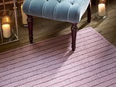 Our tufted rug made in Fall River in Pinstripe - Aubergine.