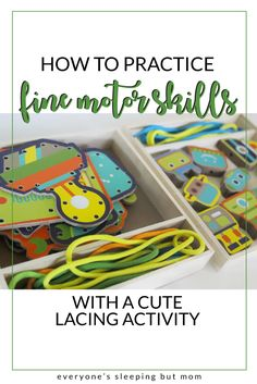How to Practice Fine Motor Skills With Cute Lacing Activity - Everyone's Sleeping but Mom Montessori Toddler, Montessori Activities, Toddler Learning, Infant Activities, Baby Activites, Activities For Kids, Alphabet For Toddlers, Games For Toddlers, Toddler Crafts