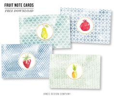 Fruit Note Cards . Download for free from Jones Design Company
