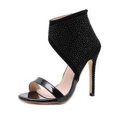Women's Stiletto Open Toe Shoes Fashion Party Sandals with Rhinestone - Black - Size EU 40 Rhinestone Heels, Black Rhinestone, Black Sandals, Women's Sandals, Open Toe Shoes, Online Fashion Stores, Stiletto Heels, Fashion Shoes, Peep Toe