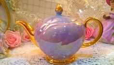 Stunning lilac lustre vintage Ellgreave of Burslem teapot with beautiful gilding