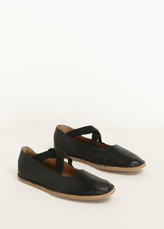 Dries Van Noten Leather Ballet Shoe (Black)