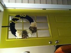 BEAUTIFUL green front door with burlap wreath!!!!