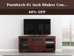 Furnitech 61 inch Shaker Console - (Dark Cherry Finish). 61inch Shaker Style TV Entertainment Corner Console for Plasma/LCD Installations. 2 Wood Framed Doors with Speaker Grille Cloth Behind Which Right and Left Speakers can be Installed or used for Media Storage, Center Channel Speaker Drawer, Solid Wood Framed Drop Down Panel Covering Component Storage Area, Internal Wire Management and Ventilated Removable Back Panel.