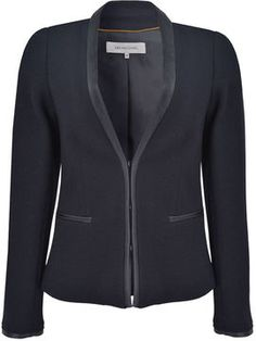 Gerard Darel Collarless Jacket With Leatherette Trim on shopstyle.co.uk