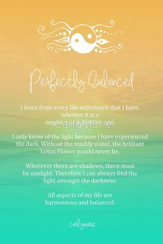- Perfectly Balanced - If you have a section in your Book of Shadows for affirmations, lovelies, this one is worth adding ♥ Positive Thoughts, Positive Vibes, Positive Quotes, Chakras, Sacral Chakra, Chakra Healing, Yoga Quotes, Sun Quotes, Yoga Mantras