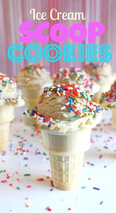 Cookies in the shape of an ice cream scoop make for the perfect non melting treat on top of an ice cream cone. Delicious Cookie Recipes, Fun Easy Recipes, Sweet Recipes, Baking Recipes, Yummy Food, Best Food Ever, My Best Recipe, Fun Desserts, Love Food