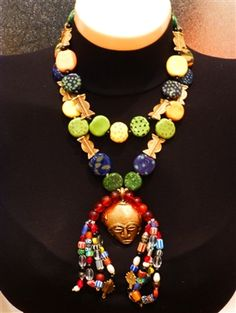 Stunning African Necklace with Earrings made using Kazuri Beads, Brass Beads, Ancient Glass Beads, Brass Mask.