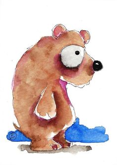ACEO Original watercolor painting Lucia Stewart whimsical animal bear…