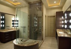 Master Bathroom - Contemporary. Love the shower in the middle of the room.