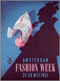 Amsterdam Fashion Week by Dutch artist Koen van Os (1910–83), 1951