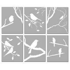 Bird Wall Art Set of 6 Prints Bird Decor Bird Bedroom Art Bird Wall Art, Bird Artwork, Wall Art Sets, Bird Bedroom, Bedroom Art, Bird Canvas, Canvas Wall Art, Cut Out Canvas, Art Et Nature
