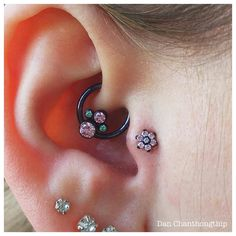 Healed Daith and fresh Tragus with Anatometal Pink, Mint Green and Pistachio CZs accented with royal blue anodizing! Killer combos and all fancy piercing waves welcome! Fake Gauge Earrings, Plugs Earrings, Unique Earrings, Crystal Earrings, Different Ear Piercings, Anniversary Jewelry, Geometric Jewelry, Tragus, Daith Piercing