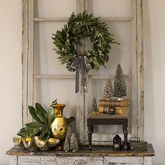 wreath on vintage window