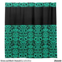 #Green and Black  #Damask Shower #Curtain #bathroom #decor