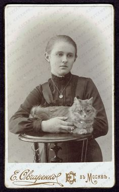 CAT CDV Photo Cute Girl with Cat Moscow Rare (2976) Sitting Poses, Rare Photos, Lockets, Moscow, Cute Girls, Cat Lovers, Miniatures, Victorian, Cats