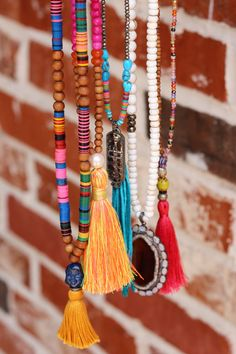 Boho Yoga Buddha Tassel Necklace, Vintage African Vinyl Multi Color Beads, OOAK…