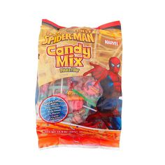 <p>A pinata mixture of all your favorite Spiderman Characters. Each bag contains an assortment of Gummies, Fruit Chews, Lollipops and Candy Characters. This product is manufactured in a facility that processes peanuts, almonds, hazelnuts, walnuts milk and soy.</p>
