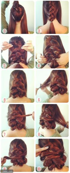 tuto coiffure 2013 54 415x1024 آموزش تصویری بستن مدل مو ساده و شیک دخترانه (4)