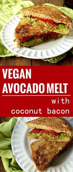 These vegan avocado melt sandwiches are crispy on the outside, and packed with creamy avocado, roasted red peppers and savory coconut bacon on the inside!