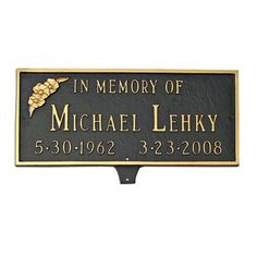 Montague Metal Products Memorial Plaque with Flower Sign Finish: Sea Blue / Gold, Mounting: Lawn