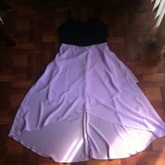 Black And Lavender High Low Dress