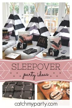 Don't miss this amazing pj and pearls grownup sleepover party! The teepees are … Don't miss this amazing pj and Birthday Sleepover Ideas, Adult Slumber Party, Girl Sleepover, Sleepover Activities, Slumber Party Games, Pajama Party, Slumber Parties, Tent Parties, Carnival Parties