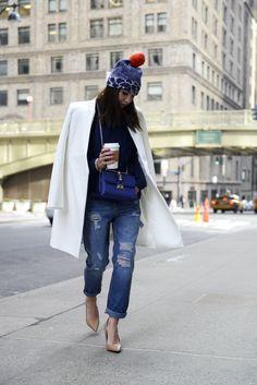 Alexandra Pereira Lovely Pepa Marc by Marc Jacobs beanie Suiteblanco boyfriend jeans Forever 21 sweater Mango shoes Valentino bag #StreetStyle #NYFW 2014