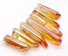 7 Pcs Enhanced 10g Rainbow Orange Titanium Tangerine Sun Aura Quartz Crystal Clusters Loose Gemstones Energy Healing Jewellery Beads Stones by CrystalsQuartzStones on Etsy