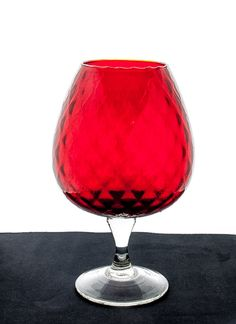 EMPOLI GLASS. HAND Blown Glass. Italian Glass. Empoli Vase. Goblet. Snifter. Large Empoli Brandy Snifter. Red Glass Snifter. Red Glass…