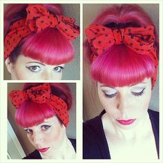 Red with Black Polka Dots Vintage Style Chiffon Hair Scarf Headwrap Hair Bow 1940s 1950s Rockabilly - Pin Up - For Women, Teens Scarves
