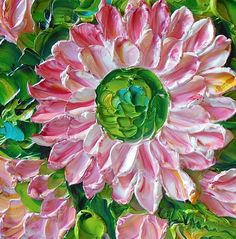 Gift Oil Painting Shades of Pink Daisy by IronsideImpastos