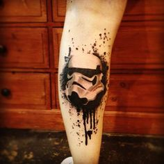 Star Wars Trooper Helmet Trash Polka tattoo on leg
