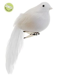 """Long-Tailed Artificial Bird in White with Clip 7"""" Long"""
